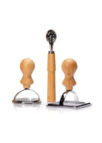 Klarstein Formičky na ravioly, sada 3 kusů, 2 velikosti, kulatá a hranatá, kolečko na těsto, kov, bambus