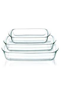 Klarstein Zapékací mísa, sada 3 kusů, objem 3600 ml, 2600 ml, 1600 ml, sklo, vhodné do trouby objem 3600 ml, 2600 ml, 1600 ml, sklo, vhodné do trouby