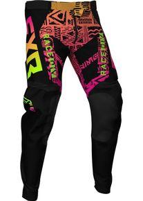 FXR Podium Aztec MX Gear Mládež Motokrosové kalhoty 24 Černá Růžový